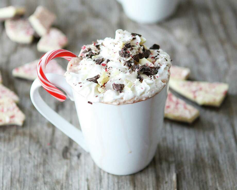 Too much peppermint bark under the Christmas tree? Peppermint Bark Hot Chocolate is inspired by Harry & David's minty candy treat. Photo: Courtesy Two Peas And Their Pod