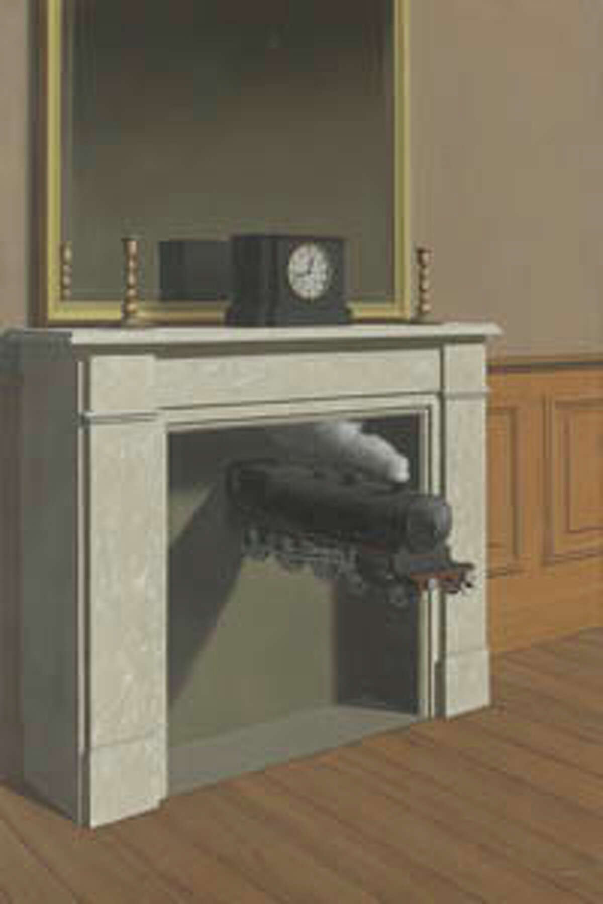 """Rene Magritte's """"La Durée poignardée,"""" also known as """"Time Transfixed."""""""