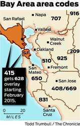 End of line for 415 - 2nd area code coming for S.F., Marin ...  Area Code Map on area code 310, area code 925, area codes 610 and 484, area code 509, area code 714, area code 512, area code 530, area code 408, area code 805, area code 209, area code 619, area code 707, area code 831, 510 area code scams, area code 858, area code 909, area code 540, area code 702, 510 area code time zone, area code 650, area code 415, california zip code map, area code 678, 510 area code prefixes,
