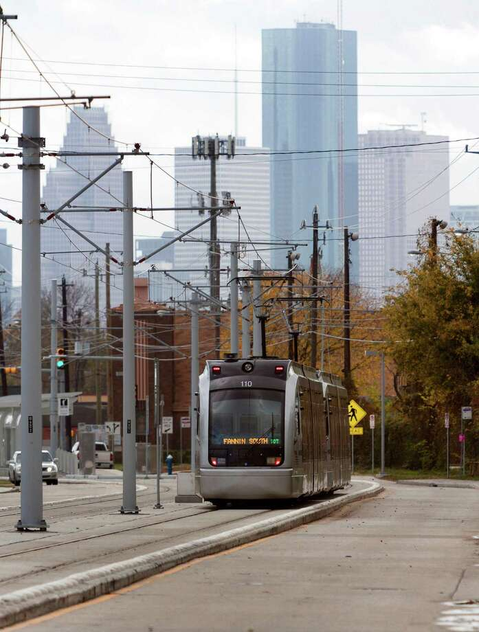 The new North/Red Line rail section runs along Main and Fulton Streets north of downtown from UH-Downtown north of Loop 610 to Northline Commons. Photo: Craig Hartley, Freelance / Copyright: Craig H. Hartley