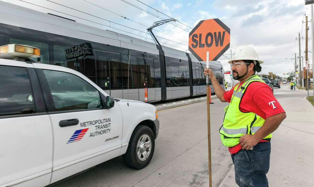 Photos of the new Northline rail section running along Main and Fulton Streets north of downtown from University of Houston Downtown north of 610 to Northline Commons.