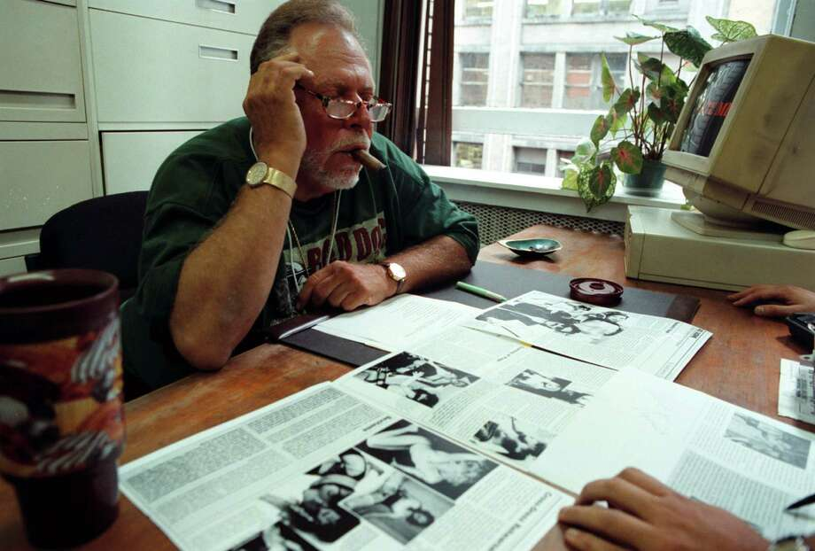 FILE -- Al Goldstein, publisher of Screw magazine, reviews layout proofs at a meeting in New York, Sept. 2, 1998. Goldstein, who died at age 77 on Dec. 19, 2013, helped push hardcore pornography into the mainstream with Screw, which debuted in 1968 with an unapologetic promise to shock and offend, earning Goldstein more than a dozen arrests on obscenity charges. (Librado Romero/The New York Times) ORG XMIT: XNYT5 Photo: LIBRADO ROMERO / NYTNS