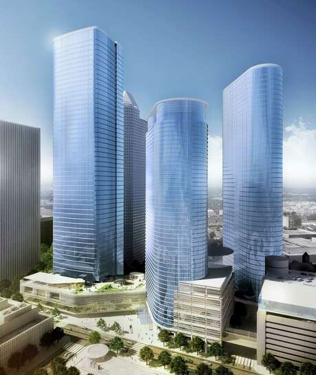 Chevron's proposed tower, left, on Louisiana Street would form an urban campus with the company's two existing towers in downtown Houston. Photo: HOK