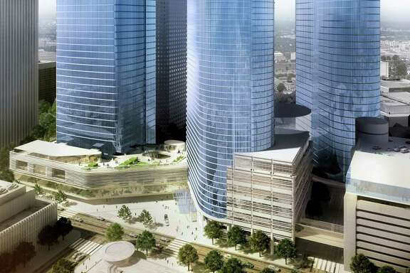 Chevron's proposed tower, left, on Louisiana Street would form an urban campus with the company's two existing towers in downtown Houston.
