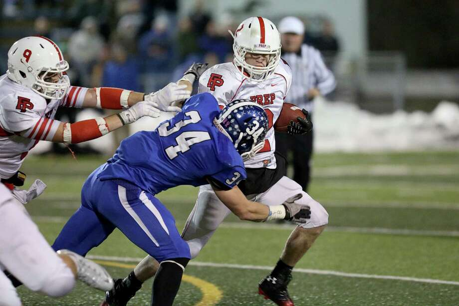 Fairfield Prep's quarterback # 2 Colton Smith gains yardage during a qb sneak during Thursday evening CIAC Class LL football championship game against Southington High School. Southington would win 52-34. Photo: Mike Ross / Mike Ross Connecticut Post freelance - @www.mikerossphoto.com