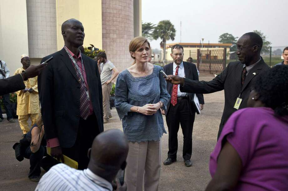 U.S. envoy to the United Nations Samantha Power (center) urged Central African Republic leaders to help end the violence there. Photo: AFP/Getty Images / AFP