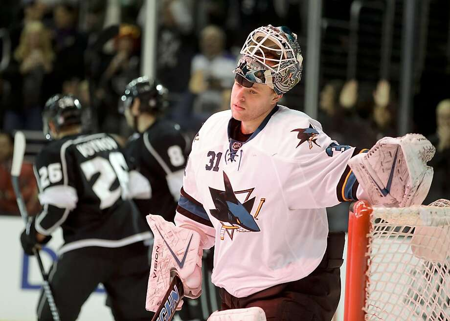 Antti Niemi's expression sums up the Sharks' 2-0 deficit after the Kings' Tyler Toffoli scored. Photo: Chris Carlson, Associated Press