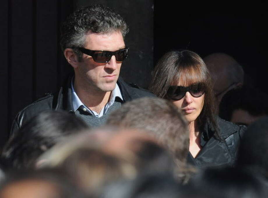 Vincent Kassel and Monica Bellucci attend Guillaume Depardieu's funeral service in 2008 at Notre-Dame Church in Bougival, France. Photo: Pascal Le Segretain, Getty Images