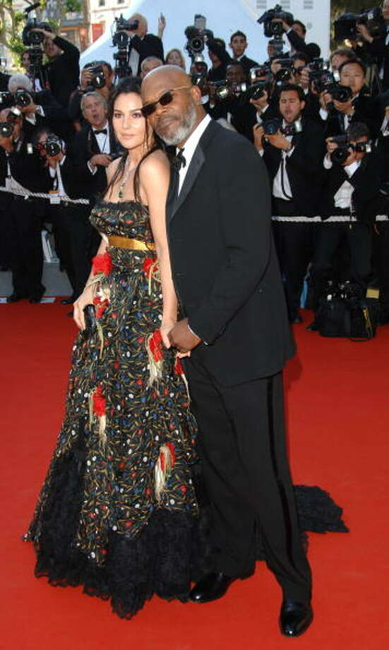 Monica Bellucci and Samuel L. Jackson at the Palais des Festival in Cannes, France. Photo: George Pimentel, WireImage