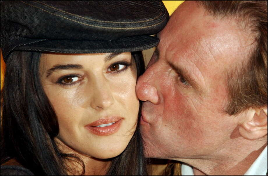 "Italian actress Monica Bellucci and French star Gerard Depardieu are in Rome for the presentation of the film by French director Alain Chabat ""Mission Cleopatre"" in Rome, Italy in 2002. Photo: Eric Vandeville, Gamma-Rapho Via Getty Images"