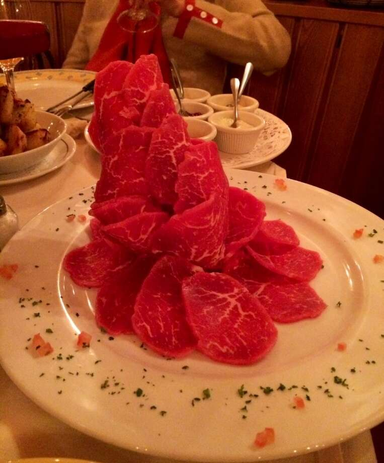 The mound of beef for the fondue Chinoise at Matterhorn ($48 for two)