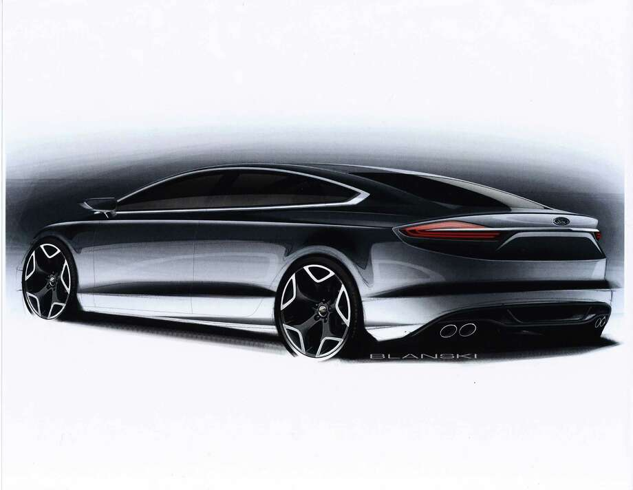 One of the early design sketches of the 2013 Ford Fusion midsize sedan.