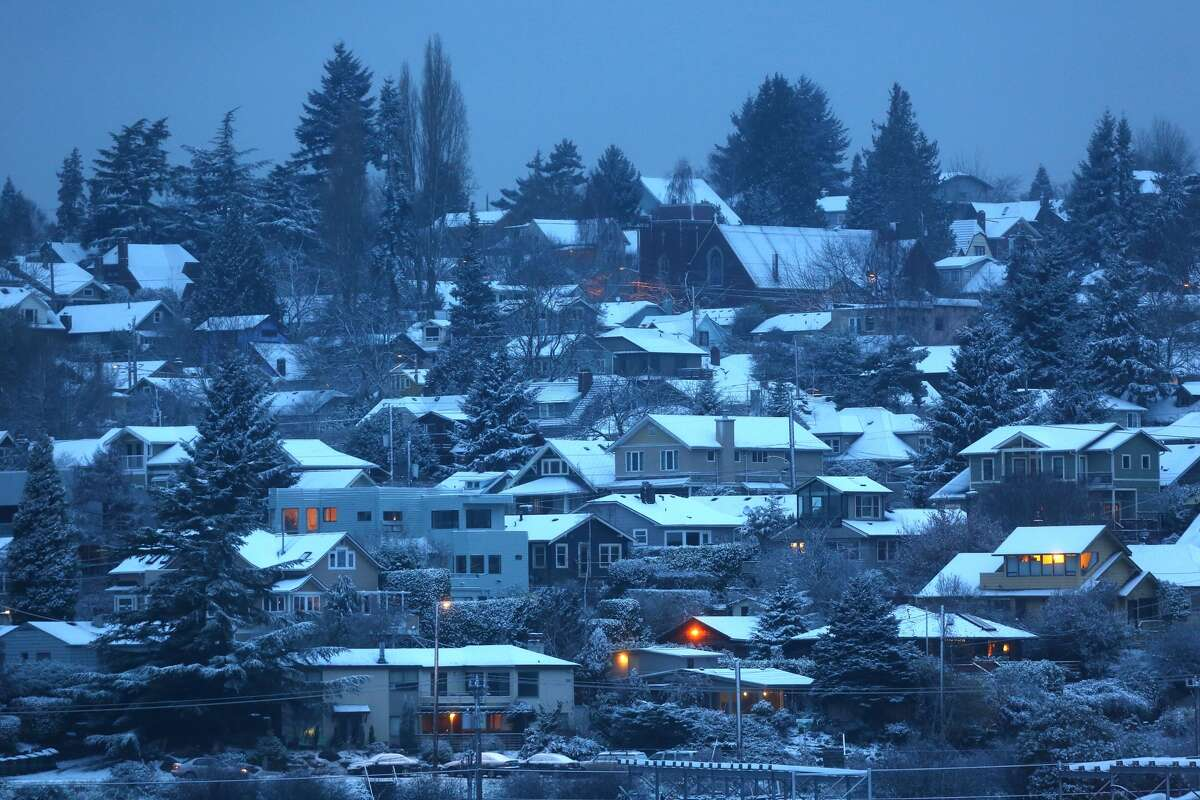 A snow-dusted Wallingford is shown after snow fell across the Seattle area Friday morning.