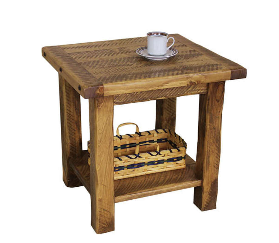 Hand-Hewn Chairside Stand: Constructed of solid hand-hewn pine, this Amish-made piece is one of a complete line of end tables, coffee tables, sofa tables and TV consoles. Available in 3 different colors. $314.95 at The Wood Carte. Photo: Photo: © The Wood Carte.