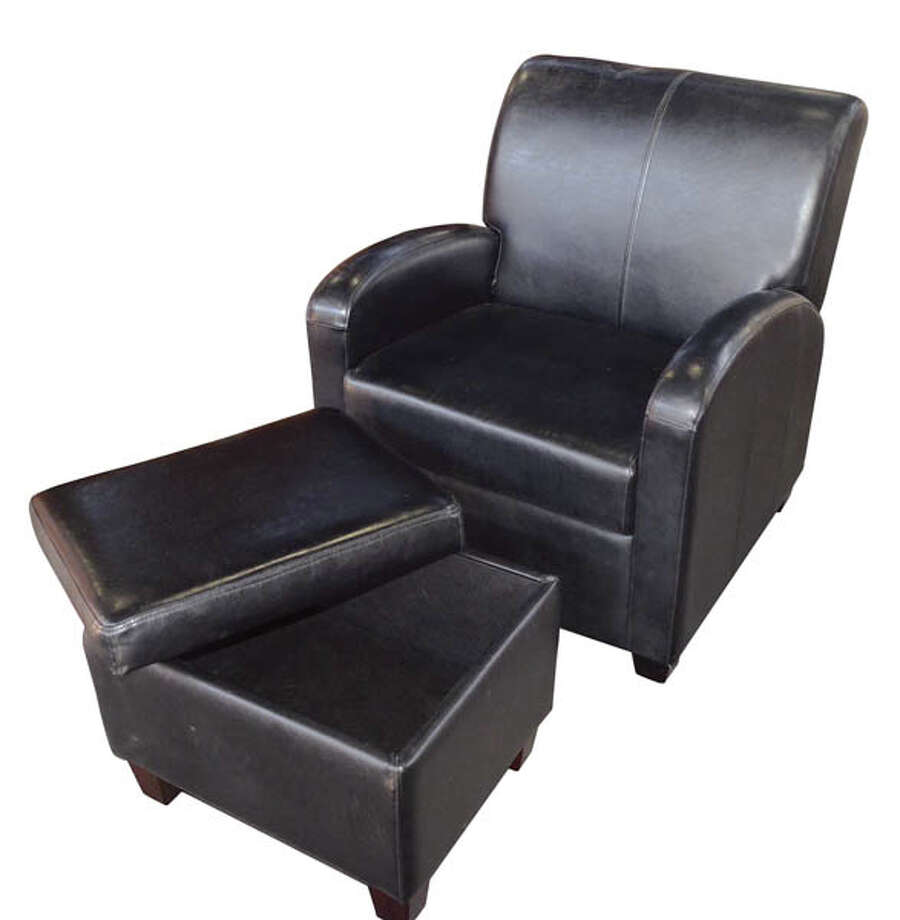 Faux Leather Chair and Footstool: Put your feet up and your living room's clutter away with this recliner/ottoman set ($75). The footrest opens up to serve as a storage unit. Available at Habitat for Humanity ReStore.