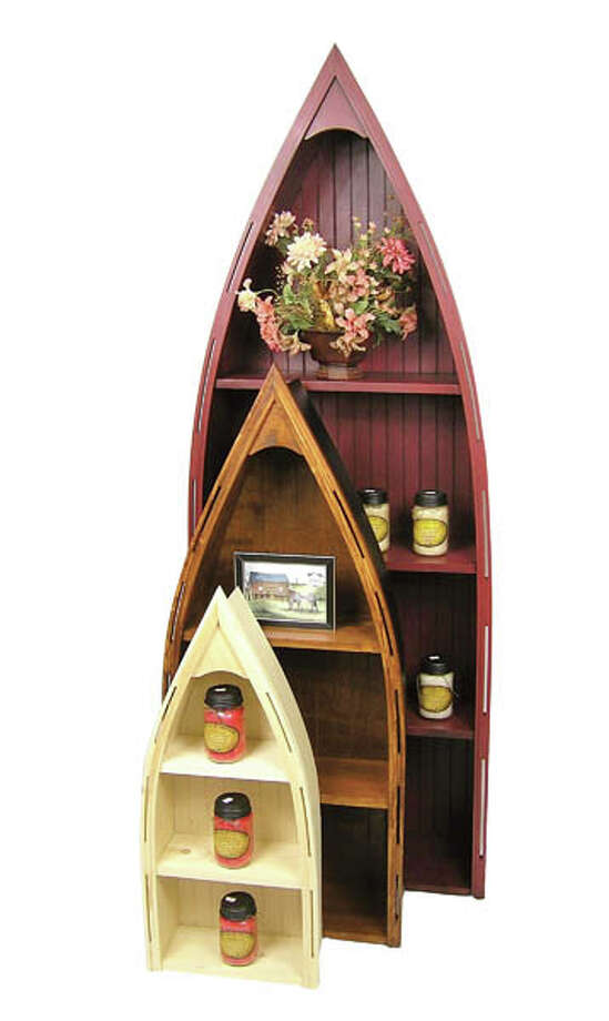 """Amish-Made Boat Bookcase Trio:These charming pine pieces, made in Pennsylvania, are available in many different finishes — or unfinished for you DIYers. Ranging in height from 32"""" to 72"""", they're great for books, knick-knacks and more. $59.95 to $249.95 at The Wood Carte. Photo: Photo: © The Wood Carte."""