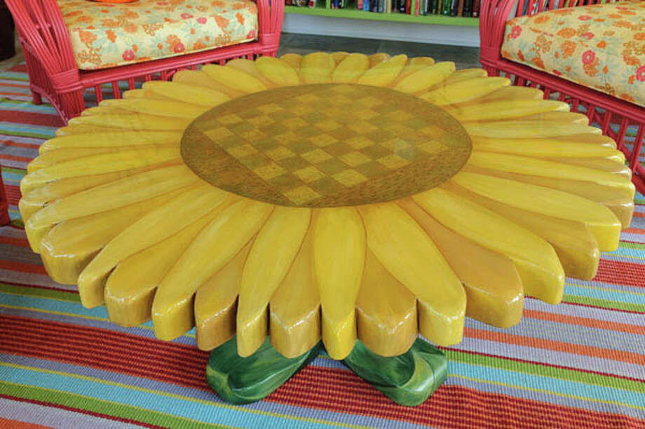 Local artist Rae Rau painted the sunflower table. Photo: Vincent Giordano, 2013 / 2013