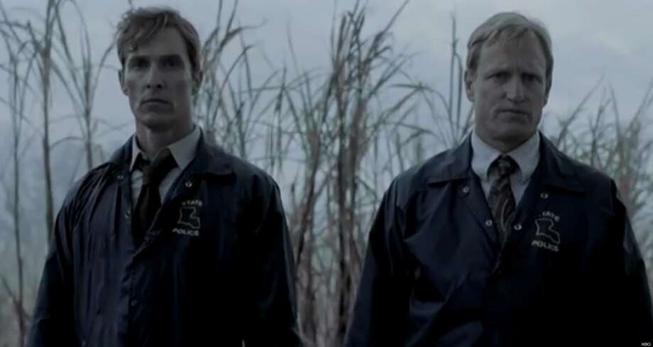TRUE DETECTIVE: Matthew McConaughey and Woody Harrelson star in HBO's new moody crime thriller. HBO, Sunday, Jan. 12