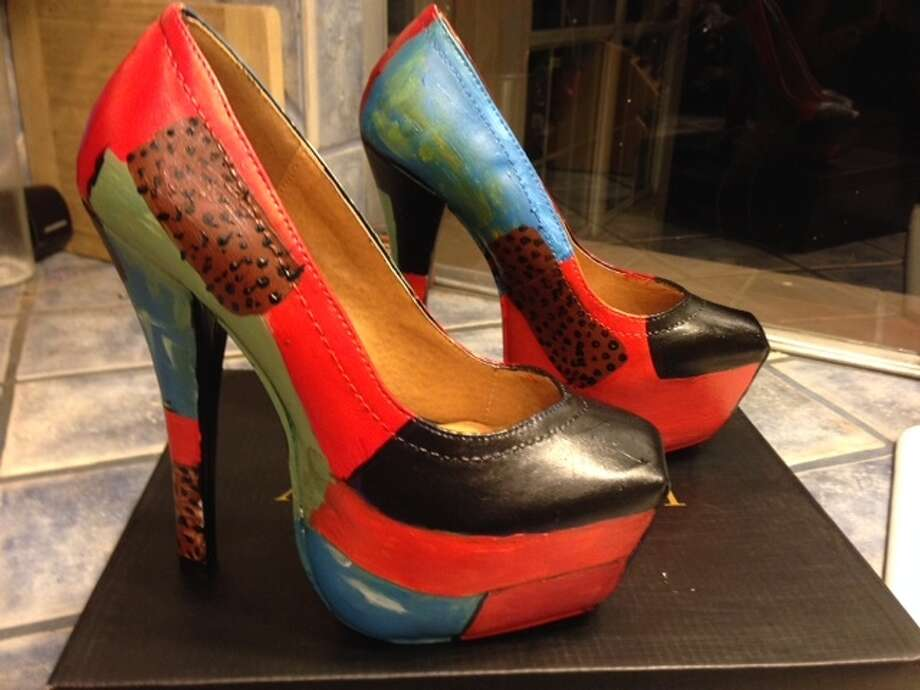 Chronicle's Joy Sewing donated these hand-painted heels, which sold for $200. (Mayor Annise Parker's heels sold for the same amount.)