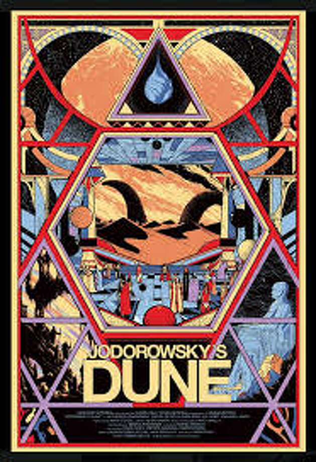 JODOROWSKY'S DUNE - Not that we ever got to see this movie here, but this image for the documentary about a doomed adaptation of the classic sci-fi novel seamlessly combines cult director Alejandro Jodorowsky's vision, author Frank Hebert's surreal story and, why not, Art Deco.