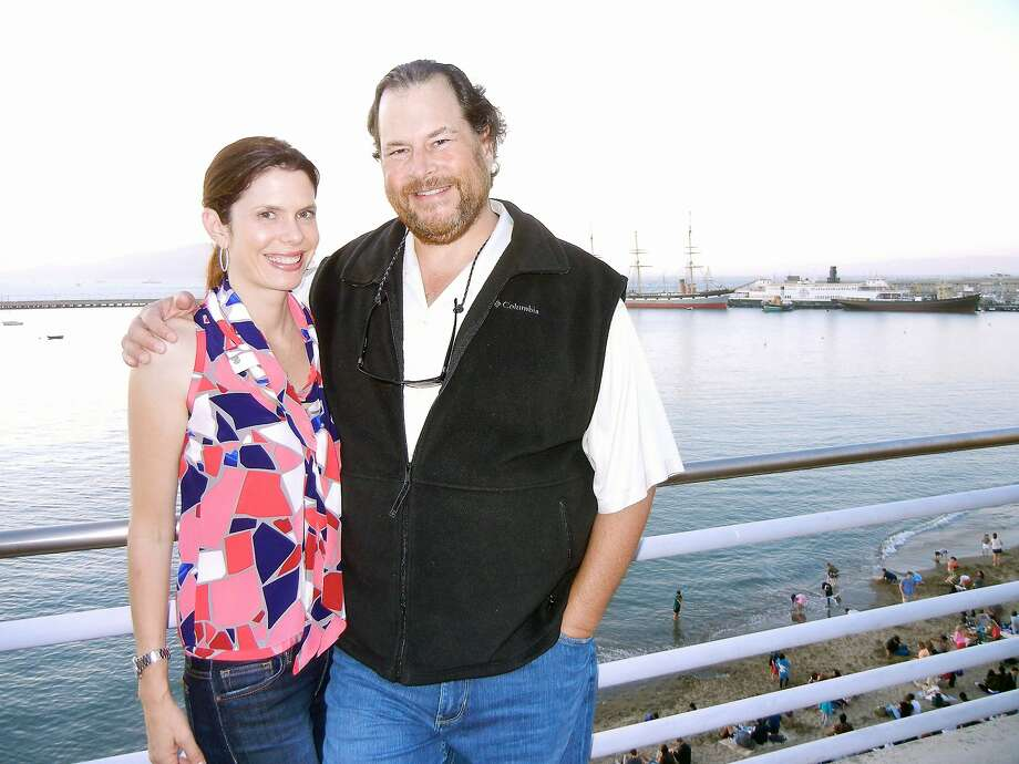 Lynne and Marc Benioff at the Maritime Museum for the Fourth of July party hosted by Mayor Ed Lee. July 2013. By Catherine Bigelow Photo: Catherine Bigelow, Special To The Chronicle