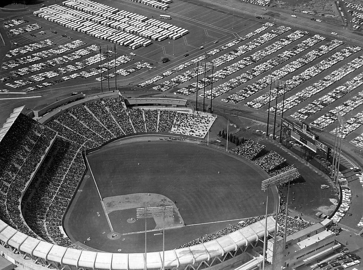 Opening day at Candlestick Park is seen in this aerial view on April 12, 1960 in San Francisco, Calif. 42,269 attended as the Giants beat the Cardinals 3-1.