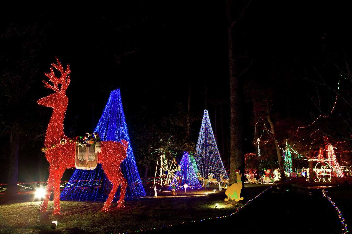 More than 250,000 lights are displayed on the decades old Christmas Ranch light display in Cleveland. Vehicles can drive through the colorful property.