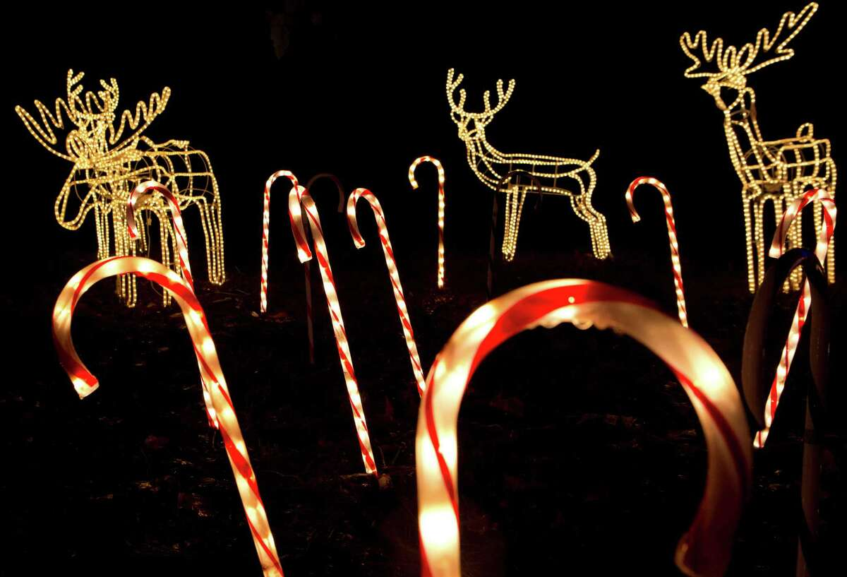 Giant decorative candy canes brighten the night during the drive through the Hanleys' property.