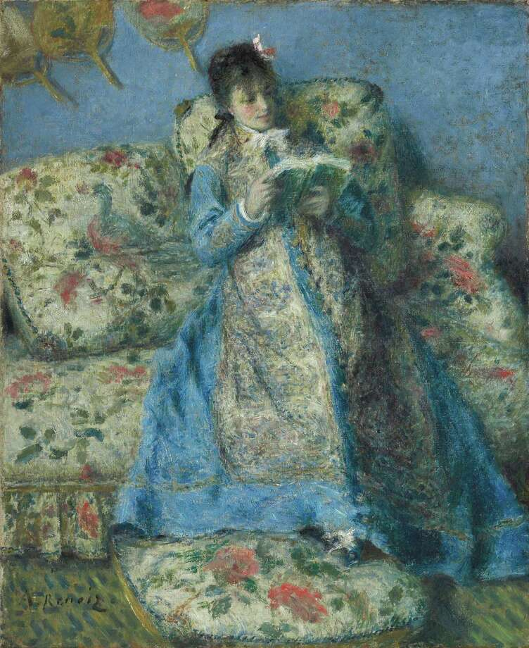 """Pierre-Auguste Renoir's """"Portrait of Madame Monet (Madame Claude Monet Reading),"""" is a fine exercise in Japonisme """"and a symphony in blue,"""" suggests MFAH director Gary Tinterow. Photo: The Clark / ONLINE_YES"""