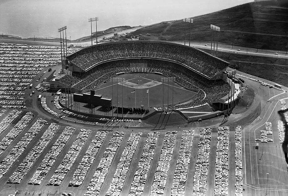 Opening day at Candlestick Park is seen in this aerial view on April 12, 1960 in San Francisco, Calif. 42,269 attended as the Giants beat the Cardinals 3-1. Photo: Unknown, Chronicle Archives 1960