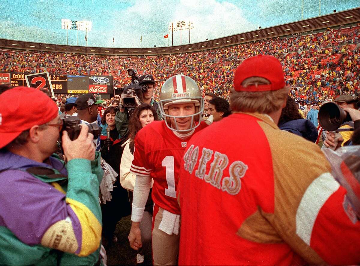 MONTANA CANDLESTICK/20DEC92/SP/FRL: 49ers Joe Montana leaves the field after a victory against the Detroit Lions. Chronicle photo by Frederic Larson