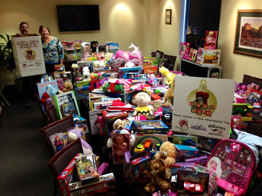 The Toys for Toga campaign raised over 400 toys, later distributed to the Franklin Community Center, Captain Youth and Family Services and Mechanicville Area Community Services Center. The campaign was formed by the Saratoga Convention & Tourism Bureau, DeCrescente Distributing Co. and Olde Saratoga Brewing Co. and held on Saratoga County Restaurant Week, Dec. 6 to 12, when people were asked to donate a toy at one of 57 participating restaurants. (Submitted photo)