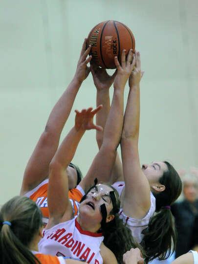 Girls high school basketball game between Greenwich High School and Danbury High School at Greenwich