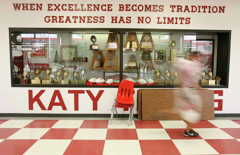 Considering Katy's success rate in football, the school soon will need a new trophy case to house its state championship hardware. Photo: Mayra Beltran, Staff / Houston Chronicle