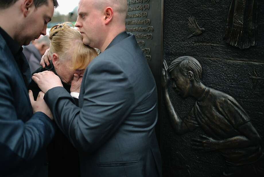 "Families and friends of the victims of the Hillsborough tragedy react as they view the Hillsborough Memorial, on the eve the 24th anniversary of the disaster on April 14, 2013 in Liverpool, England. The new monument has been erected on Old Haymarket in Liverpool and is adorned with the words ""Hillsborough Disaster - we will remember them"", along with the names of all 96 Liverpool FC supporters who died. The Hillsborough disaster occurred during the FA Cup semi-final tie between Liverpool and Nottingham Forest football clubs in April 1989 at the Hillsborough Stadium in Sheffield, which resulted in the deaths of 96 football fans. Photo: Christopher Furlong, Getty Images"