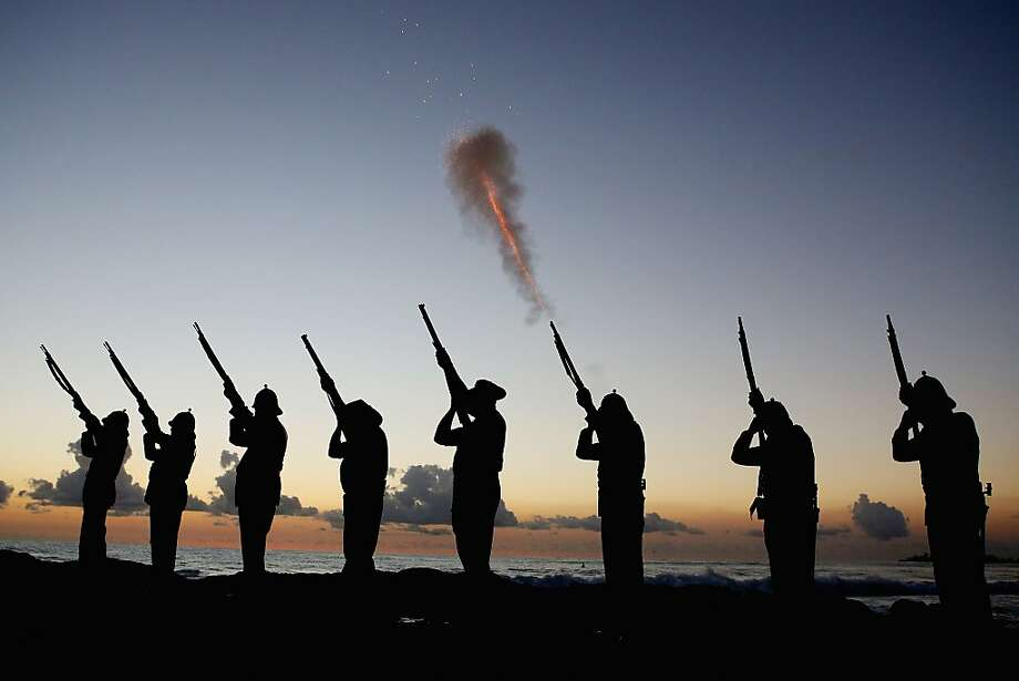 Members of the Albert Battery shoot a volley of fire during the ANZAC dawn service at Currumbin Surf Life Saving Club on April 25, 2013 in Gold Coast, Australia.  Veterans, dignitaries and members of the public today marked the 98th anniversary of ANZAC (Australia New Zealand Army Corps) Day, April 25, 1915 when allied Australian and New Zealand First World War forces landed on the Gallipoli Peninsula. Commemoration events are held across both countries in remembrance of those who fought and died in all wars. Photo: Chris Hyde, Getty Images