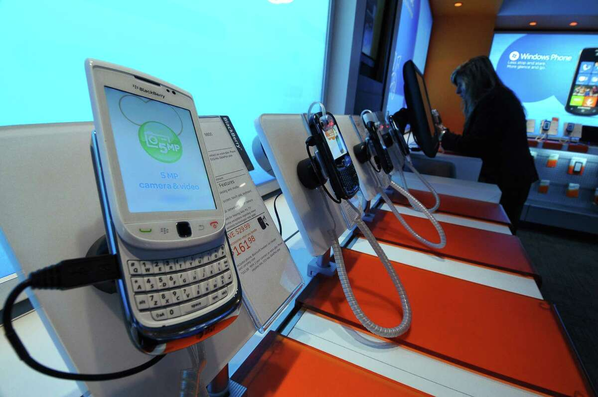 Smart phones on display at the AT&T store Monday, March 21, 2011, in Colonie, N.Y. (Philip Kamrass/ Times Union archive)