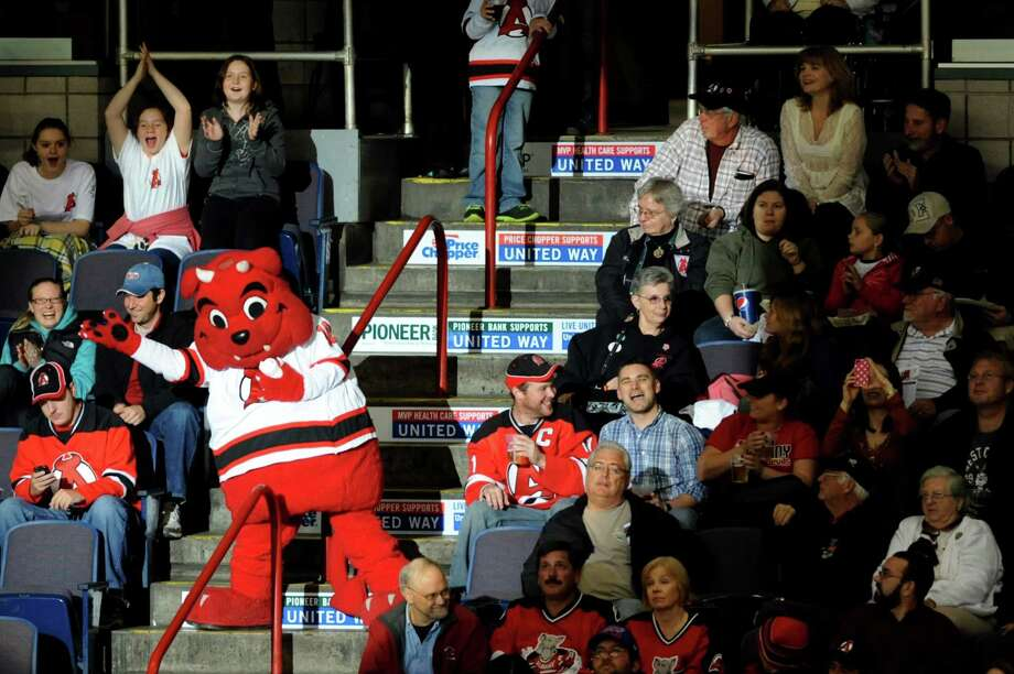 The Devils are still going strong. The Albany Devils' mascot draws cheers with the offer of a free tee-shirt during a game against the Manchester Monarchs in  2012 at Times Union Center in Albany, N.Y.  Photo: Cindy Schultz / 00019578A
