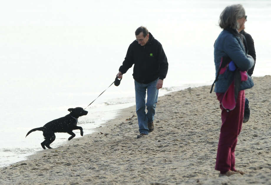 With the temperature reading 58 degrees on the first day of winter, the shortest day of the year, a man and his dog enjoy the beach at Greenwich Point, Saturday, Dec. 21, 2013. Photo: Bob Luckey / Greenwich Time