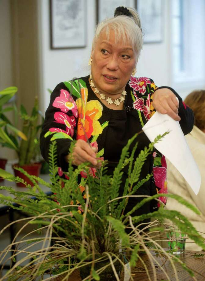 Patti Lee holds up an orchid as she acts as auctioneer during Saturday's orchid auction at the Bartlett Arboretum hosted by the North East Judging Center of the American Orchid Society on December 21, 2013. Photo: Lindsay Perry / Stamford Advocate