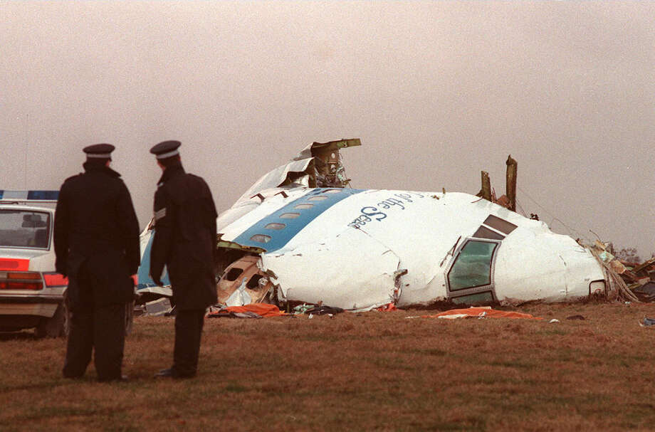 "The wreckage of the PanAm airliner that exploded and crashed over Lockerbie, Scotland, is seen on Dec. 22, 1988. The Boeing 747 ""Clipper Maid of the Seas"" was destroyed en route from Heathrow to JFK Airport in New York, when a bomb was detonated in its forward cargo hold. All 259 people on board were killed, as well as 11 people in the town of Lockerbie. Photo: LETKEY, AFP/Getty Images / AFP"