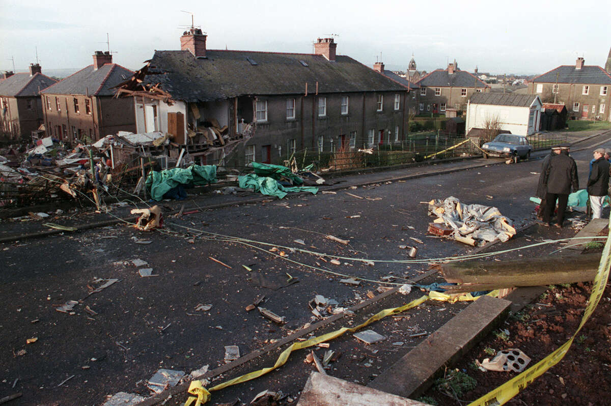 The scene of devastation caused by the explosion of a 747 Pan Am Jumbo jet over Lockerbie, that crashed Dec. 21, 1988 on the route to New-York, with 259 passengers on board. All 243 passengers and 16 crew members were killed as well as 11 Lockerbie residents. In 2003, Libya admitted responsibility for the deaths of the 270 victims of the Pan Am 103 bombing.