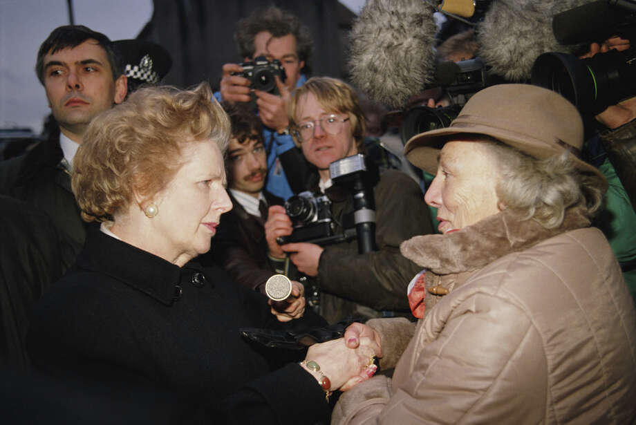 British Prime Minister Margaret Thatcher talks to local residents in the town of Lockerbie, Scotland, shortly after the bombing of Pan Am Flight 103 in December 1988. Photo: Tom Stoddart Archive, Getty Images / 2013 Tom Stoddart