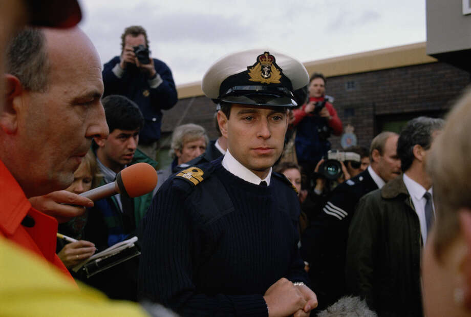 Prince Andrew, the Duke of York, visits Lockerbie in Scotland after the bombing of Pan Am flight 103 in December 1988. Photo: Tom Stoddart Archive, Getty Images / 2009 Getty Images