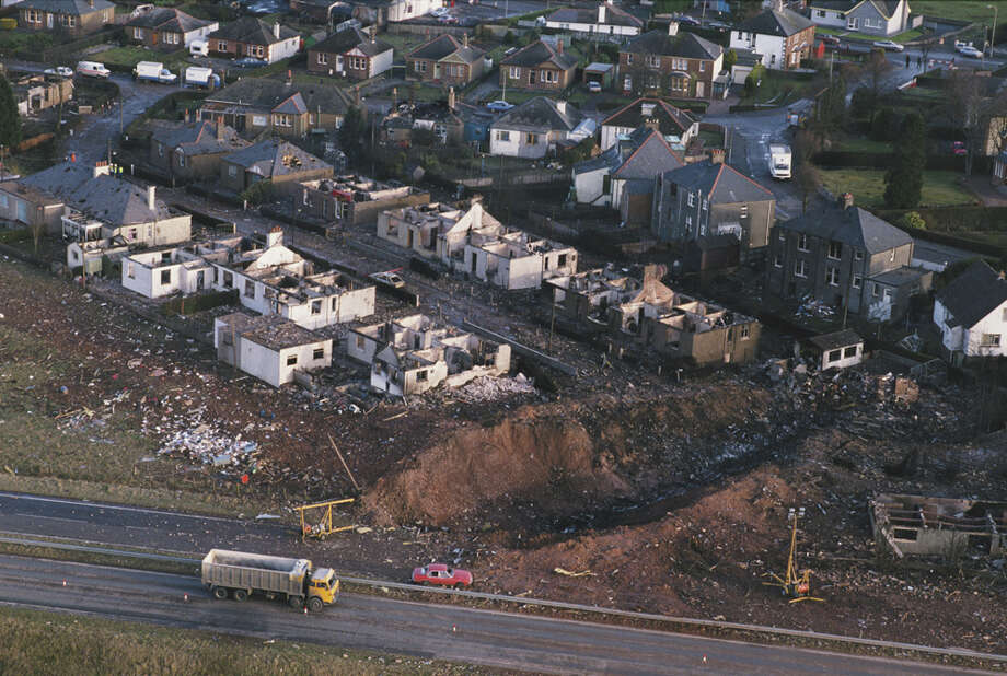 Some of the destruction caused by Pan Am Flight 103 after it crashed 