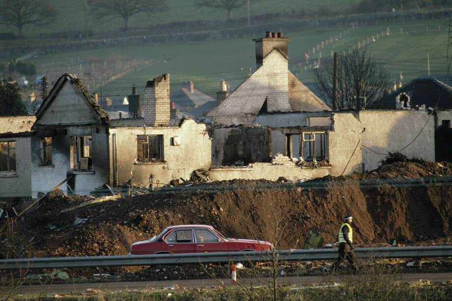 Ruined houses in the town of Lockerbie are seen after the bombing of Pan Am Flight 103 from London to New York in December 1988. Photo: Tom Stoddart Archive, Getty Images / 2007 Getty Images