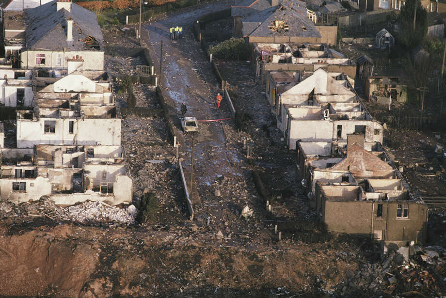 Some of the destruction caused by Pan Am Flight 103 after it crashed  onto the town of Lockerbie in Scotland is seen on Dec. 21, 1988. Photo: Bryn Colton, Getty Images / 2012 Bryn Colton