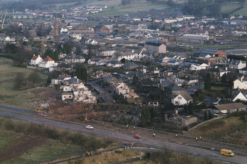 Some of the destruction caused by Pan Am Flight 103 after it crashed onto the town of Lockerbie in Scotland is seen on Dec. 21, 1988.
