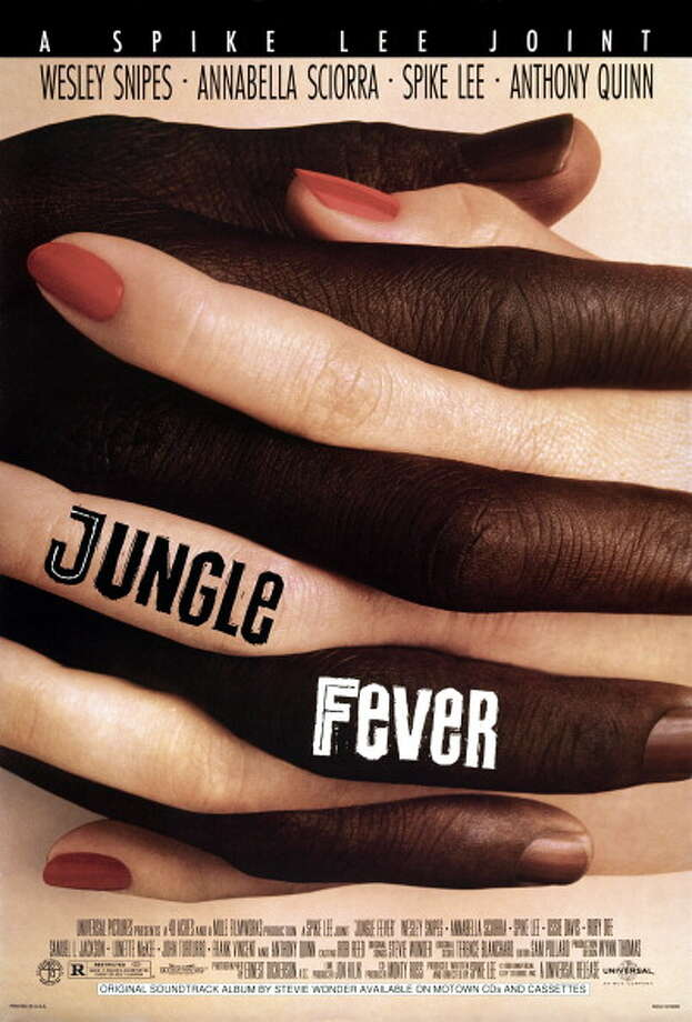 One sheet movie poster advertises the drama 'Jungle Fever,' directed by Spike Lee and starring Wesley Snipes, Annabella Sciorra, Anthony Quinn, Ruby Dee, Ossie Davis, Samuel L. Jackson, Queen Latifah, and Halle Berry (Universal Pictures), 1991. Photo: John D. Kisch/Separate Cinema Ar, Getty Images / Moviepix