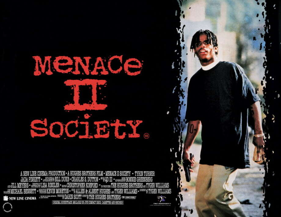Movie poster advertises the British release of 'Menace II Society,' directors Albert and Allen Hughes' urban drama starring Jada Pinkett Smith, Tyrin Turner, Samuel L Jackson, Larenz Tate and Bill Duke (New Line Cinema), 1993. Photo: John D. Kisch/Separate Cinema Ar, Getty Images / Moviepix